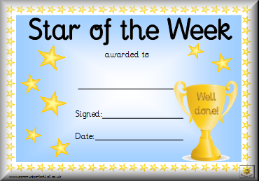 Awards for Student of the week certificate template free