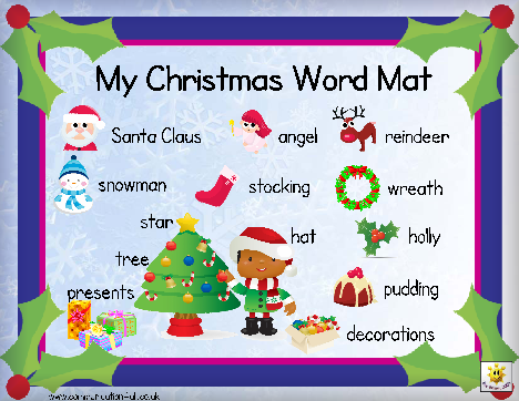Christmas Word Mat: click on the links below the image to download