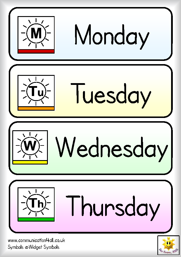 Days of the week flash cards printables - Flashcards For Learning