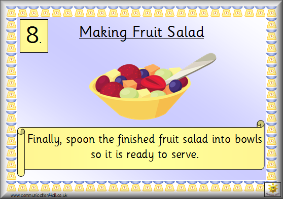 Sequence cards for making fruit salad: click the image to download