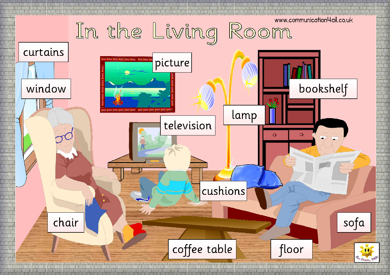 Rooms around the house a4 word matsposters click on images for Living room 4 pics 1 word