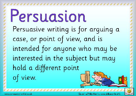 persuasive writing speech ks2 Through a classroom game and resource handouts, students learn about the techniques used in persuasive oral arguments and apply them to independent persuasive writing.