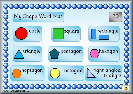 3d Shapes And Names Worksheet Double sided shape word mat